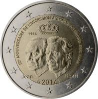 obverse of 2 Euro - Henri I - 50th anniversary of the accession to the throne of the Grand-Duke Jean (2014) coin from Luxembourg. Inscription: 50e ANNIVERSAIRE DE L'ACCESSION AU TRÔNE DU GRAND-DUC JEAN JEAN 2014 HENRI