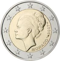obverse of 2 Euro - Albert II - 25th anniversary of the death of Princess Grace (2007) coin with KM# 186 from Monaco.