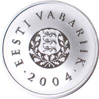 obverse of 10 Krooni - 120th anniversary of the consecration of the Flag of Estonia (2004) coin with KM# 40 from Estonia. Inscription: EESTI VABARIIK 2004