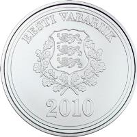 obverse of 10 Krooni - Vancouver Winter Olympic Games (2010) coin with KM# 53 from Estonia. Inscription: EESTI VABARIIK 2010