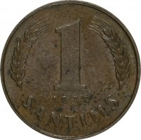 reverse of 1 Santims (1937 - 1939) coin with KM# 10 from Latvia. Inscription: 1 1939 SANTIMS