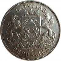 obverse of 2 Lati (1925 - 1926) coin with KM# 8 from Latvia. Inscription: LATVIJAS REPUBLIKA