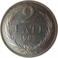 reverse of 2 Lati (1925 - 1926) coin with KM# 8 from Latvia. Inscription: 2 LATI 1925