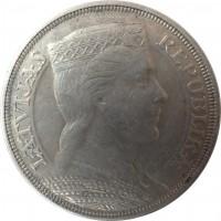 obverse of 5 Lati (1929 - 1932) coin with KM# 9 from Latvia. Inscription: LATVIJAS REPUBLIKA