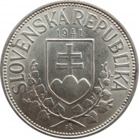 obverse of 20 Korún - St. Kyrill and St. Methodius (1941) coin with KM# 7 from Slovakia. Inscription: SLOVENSKÁ REPUBLIKA 1941 FŠ