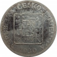obverse of 10 Korun (1930 - 1933) coin with KM# 15 from Czechoslovakia. Inscription: REPUBLIKA ČESKOSLOVENSKÁ 1930