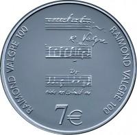 reverse of 7 Euro - Raimond Valgre (2013) coin with KM# 73 from Estonia. Inscription: RAIMOND VALGRE 100 RAIMOND VALGRE 100 7€