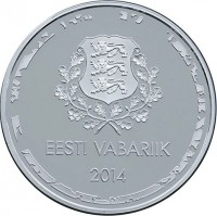 obverse of 10 Euro - Olympic Winter Games in Sochi (2014) coin with KM# 74 from Estonia. Inscription: EESTI VABARIIK 2014