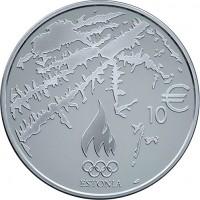 reverse of 10 Euro - Olympic Winter Games in Sochi (2014) coin with KM# 74 from Estonia. Inscription: 10 € ESTONIA