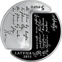 obverse of 5 Euro - Rainis and Aspazija (2015) coin with KM# 165 from Latvia. Inscription: 5 EURO LATVIA 2015