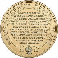 obverse of 500 Złotych - Treasures of Stanislaw August: Ladislas of Varna (2015) coin with Y# 941 from Poland. Inscription: RZECZPOSPOLITA POLSKA . 500 ZŁ JAGELLONIS FILIUS NATU MAJOR, VIVENTE PATRE REX POLONIAE DESIGNATUS, IN REGEM HUNGARIAE CORONATUS A.