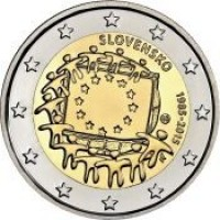 obverse of 2 Euro - 30th Anniversary to European Union flag (2015) coin from Slovakia. Inscription: SLOVENSKO 1995-2015
