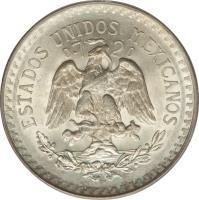 obverse of 1 Peso (1920 - 1945) coin with KM# 455 from Mexico. Inscription: ESTADOS UNIDOS MEXICANOS 0.720