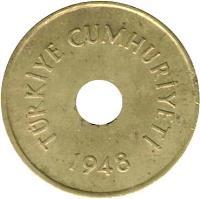 obverse of 2 1/2 Kuruş (1948 - 1951) coin with KM# 885 from Turkey. Inscription: TÜRKİYE CUMHURİYETİ 1948