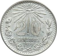 reverse of 20 Centavos (1919) coin with KM# 436 from Mexico. Inscription: 20 M CENTAVOS 1919
