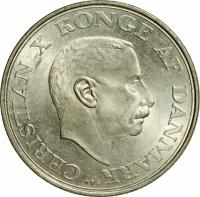 obverse of 2 Kroner - Christian X - 25th Anniversary Reign of Christian X (1937) coin with KM# 830 from Denmark. Inscription: CHRISTIAN X KONGE AF DANMARK N S