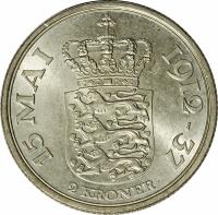 reverse of 2 Kroner - Christian X - 25th Anniversary Reign of Christian X (1937) coin with KM# 830 from Denmark. Inscription: 15 MAI 1912-37 2 KRONER