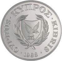 obverse of 50 Cents - Olympic Games Seoul (1988) coin with KM# 60 from Cyprus. Inscription: 1960 CYPRUS.ΚΥΠΡΟΣ.KIBRIS.1988.