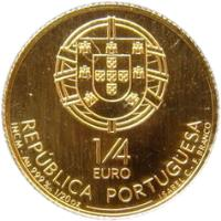 obverse of 1/4 Euro - King Dinis of Portugal (2008) coin with KM# 827 from Portugal. Inscription: REPÚBLICA PORTUGUESA 1/4 EURO INCM - Au 999‰ 1/20 oz ISABEL C. - F. Branco
