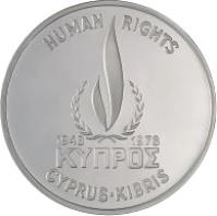 obverse of 500 Mils - Human Rights - Silver Proof Issue (1978) coin with KM# 48a from Cyprus. Inscription: HUMAN RIGHTS 1948 1978 ΚΥΠΡΟΣ CYPRUS · KIBRIS