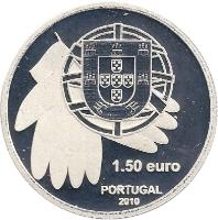 obverse of 1.5 Euro - Against Famine (2010) coin with KM# 795a from Portugal. Inscription: 1.50 euro PORTUGAL 2010