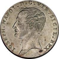 obverse of 1 Piastra - Joseph Napoleon (1806 - 1808) coin with KM# 248 from Italian States. Inscription: IOSEPH NAPOL.D. G. VTR.SICIL . REX.