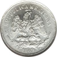 obverse of 25 Centavos (1869 - 1892) coin with KM# 406 from Mexico. Inscription: REPUBLICA MEXICANA 1889