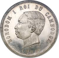 obverse of 4 Francs - Norodom I (1860) coin with KM# 48 from Cambodia. Inscription: NORODOM I ROI DU CAMBODGE C.WURDEN 1860