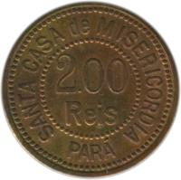 obverse of 200 Réis - Santa Casa de Misericordia; Leprosarium Coinage (1920) coin with KM# L7 from Brazil. Inscription: SANTA CASA de MISERICORDIA 2.00 REIS PARÁ