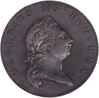 obverse of 1 Penny - George III (1793) coin with KM# 5a from United Kingdom.