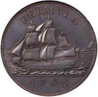 reverse of 1 Penny - George III (1793) coin with KM# 5a from United Kingdom.