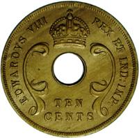 obverse of 10 Cents - Edward VIII - Mule (1936) coin with KM# 17 from British West Africa. Inscription: EDWARDVS VIII REX ET IND:IMP: TEN CENTS
