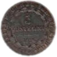reverse of 3 Centesimi - Vittorio Emanuele II (1826) coin with KM# 2 from Italian States. Inscription: CAR · FELIX D · G · REX SAR · CYP · ET HIER