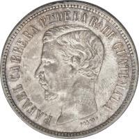 obverse of 2 Reales (1860 - 1861) coin with KM# 134 from Guatemala. Inscription: RAFAEL CARRERA PTE DE LA RA. DE GUATEMALA FRENER F.