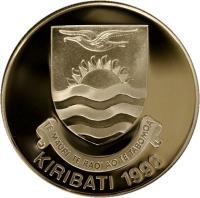 obverse of 5 Dollars - Discoverer of Kiribati (1996) coin with KM# 19 from Kiribati. Inscription: TE MAURI TE RAOI AO TE TABOMOA KIRIBATI 1996