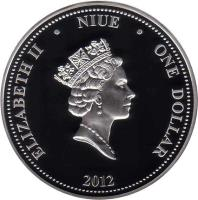 obverse of 1 Dollar - Elizabeth II - Stars Flight (2012) coin with KM# 767 from Niue. Inscription: ELIZABETH II NIUE ONE DOLLAR 2012