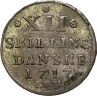 reverse of 12 Skilling Danske - Frederik VI (1712 - 1719) coin with KM# 504 from Denmark. Inscription: * *XII* SKILLING DANSKE · 1717 · · CW ·