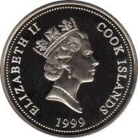 obverse of 1/2 Dollar - Elizabeth II - Garfield (1999) coin with KM# 338 from Cook Islands. Inscription: ELIZABETH II COOK ISLANDS 1999