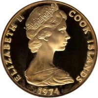obverse of 50 Dollars - Elizabeth II - 100th Anniversary of the Birth of Winston Churchill (1974) coin with KM# 11a from Cook Islands. Inscription: ELIZABETH II COOK ISLANDS 1974