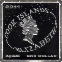 obverse of 1 Dollar - Elizabeth II - 50th Anniversary of the First Man in Space (2011) coin from Cook Islands. Inscription: 2011 COOK ISLANDS ELIZABETH II Ag 925 ONE DOLLAR