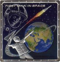 reverse of 1 Dollar - Elizabeth II - 50th Anniversary of the First Man in Space (2011) coin from Cook Islands. Inscription: FIRST MAN IN SPACE