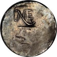 obverse of 1 Shilling (1652) coin from United States. Inscription: NE