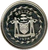 obverse of 1 Cent - Elizabeth II - Avifauna of Belize: Swallow-tailed Kite (1974) coin with KM# 38a from Belize. Inscription: BELIZE SUB UMBRA FLOREO 1974