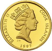 obverse of 25 Dollars - Elizabeth II - Endangered Wildlife: Eagle (1990 - 1997) coin with KM# 86 from Cook Islands. Inscription: ELIZABETH II COOK ISLANDS PM 1997