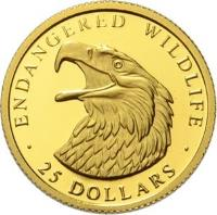 reverse of 25 Dollars - Elizabeth II - Endangered Wildlife: Eagle (1990 - 1997) coin with KM# 86 from Cook Islands. Inscription: · ENDANGERED WILDLIFE · 25 DOLLARS