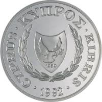 obverse of 1 Pound - Olympic Games Barcelona (1992) coin with KM# 67 from Cyprus. Inscription: 1960 CYPRUS.ΚΥΠΡΟΣ.KIBRIS.1992.