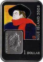 obverse of 1 dollar - Elizabeth II - Famous Painters: Henri De Toulouse-Lautrec (2008) coin with KM# 211 from Niue. Inscription: 1 DOLLAR NIUE ISLAND 2008 ELIZABETH II