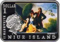 obverse of 1 dollar - Elizabeth II - Famous Painters: Francisco Goya (2010) coin with KM# 432 from Niue. Inscription: 1 dollar ELIZABETH II 2010 NIUE ISLAND