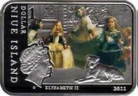 obverse of 1 dollar - Elizabeth II - Famous Painters: Diego Velazquez (2011) coin with KM# 585 from Niue. Inscription: 1 dollar NIUE ISLAND ELIZABETH II 2011