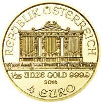 obverse of 4 Euro - Vienna Philharmonic (2014) coin with KM# 3226 from Austria. Inscription: REPUBLIK ÖSTERREICH 1/25 UNZE GOLD 999.9 2014 4 EURO